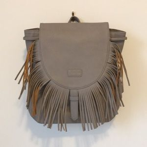 Grey Faux Leather Backpack Purse with Fringe Large